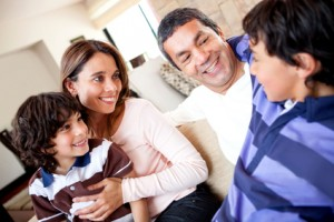 Boy talking to his family